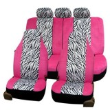 9-Piece Zebra Seat Cover Set, Pink Accents