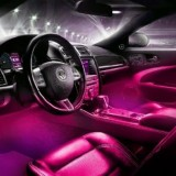 Pink LED Dashboard, Foot Well Lights with Sound Response